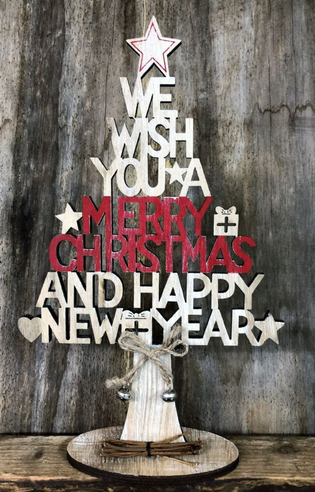 We Wish You A Merry Christmas Tree Sign with Twine